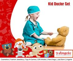 This fun play doctor's Medical Case is packed with fun toy medical kit, so your little medic can enjoy treating their toys, friends and you.  Visit: www.angelsfamilystop.com #MakeupTip #AngelsFamilyShop #Cosmetics #FashionJewellery#GiftArticles #HandBags #JustBorn #Lingerie #ToysNGames