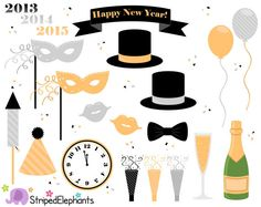 New Year's Eve Clip Art  Party Clip Art  by StripedElephants, $3.70