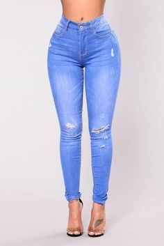 Available in Blue High Rise Vintage Blue Jeans Distress Cotton Spandex Cute Ripped Jeans, High Waisted Distressed Jeans, Torn Jeans, Sexy Jeans, High Jeans, High Waist Jeans, Skinny Jeans, Blue Jeans, Jeans Claro