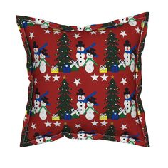 Serama Throw Pillow featuring Snowman, Trees, Presents and Stars Red Holiday…