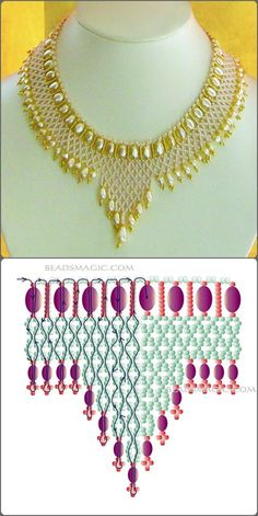 Beaded Necklace Patterns, Seed Bead Patterns, Beading Patterns, Bracelet Patterns, Beaded Bracelet, Beaded Crafts, Handmade Beaded Jewelry, Jewelry Crafts, Seed Bead Jewelry
