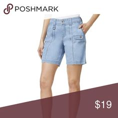 Style & Co. Womens Tummy Control Mid-Rise Denim Style & Co. Womens Tummy Control Mid-Rise Denim Shorts SIZE 8 P1022  Color: Bleach Chambray   Cotton/Polyester/Spandex  Tummy Control  Mid-Rise  Cargo  Bangladesh Style & Co Shorts