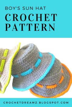 A simple and easy crochet sun hat pattern for boys. You will also find a matching sandals pattern. Visit my blog for the patterns. - #crochetsunhat, #crochetpattern, #sunhatcrochet, #sunhatcrochetpattern, #crochetboysunhat