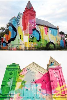 This is the work of Alex Brewer, also known as HENSE. Private commission, in South West Washington DC, that transformed this old church into a piece of contemporary art.