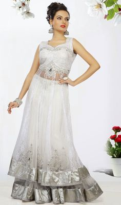 Attractive White Net Long Lehenga Choli Price: Usa Dollar $434, British UK Pound £254, Euro319, Canada CA$ 466, Indian Rs23436.