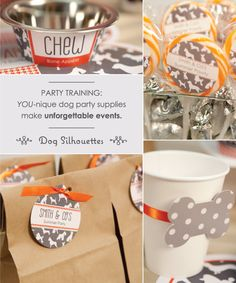 Celebrate with Classic Houndstooth & Dog Silhouettes Party Theme // WhenPoochComesToShove.com  #puppyparty #poochpawty