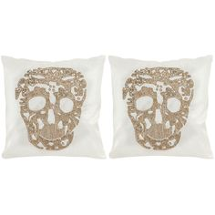 Safavieh Punk Skull Gold Throw Pillows (18-inches x 18-inches) (Set of 2) - Overstock Shopping - Great Deals on Safavieh Throw Pillows