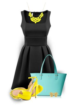 """Black Square Neck Sleeveless Pleated Dress"" by colierollers ❤ liked on Polyvore featuring Kate Spade and ALDO"
