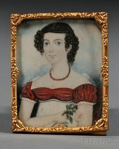 451: Miniature Portrait of a Young Woman Wearing a Red : Lot 451