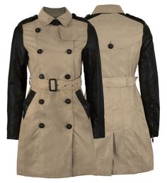 WOMENS BELTED MILITARY COAT PVC SLEEVE LADIES PARKA JACKET in Clothes, Shoes & Accessories, Women's Clothing, Coats & Jackets | eBay