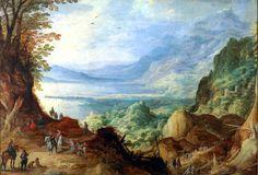 ヨース・デ・モンペル (Joos de Momper)「Mountainous Landscape with Harbor」