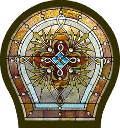 AE419 Antique American Stained Glass Window