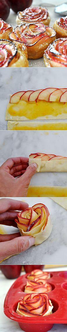 Яблочные розочки в слоеном тесте