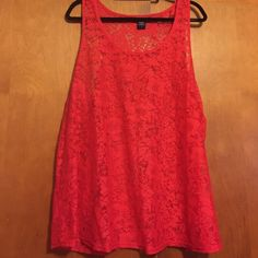 Torrid Red Lace Tank Red lace tank Size: 1 (14/16) Only work once. Reasonable offers accepted. Fabric: Nylon torrid Tops Tank Tops