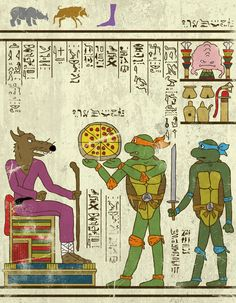 Hero-glyphics by Josh Lane #illustration #egypte #TMNT