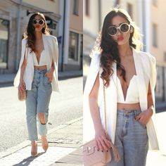 Louise Jonsson - Style Moi Split Sleeve Cape Blazer, Nasty Gal Crop Top, Rebecca Stella For Nelly Boyfriend Jeans, Asos Nude Pumps, River Island Nude Quilted Crossbody Bag - White cape blazer White Cape Blazer, Boyfriend Jeans, Mom Jeans, Classy Casual, White Fashion, Ripped Jeans, Dress To Impress, High Waist, Cute Outfits