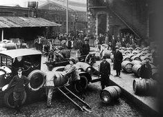 Whiskey delivery trucks at Jameson's, Bow street, Dublin Guinness Brewery, Dublin Ireland, Whisky, Old Photos, Past, Monster Trucks, History, Image, 1920s