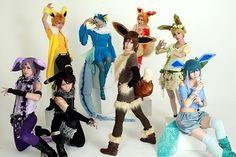 Eevee evolution cosplays (Jolteon, Vaporeon, Flareon, Leafeon, Espeon, Umbreon, Eevee and Glaceon)