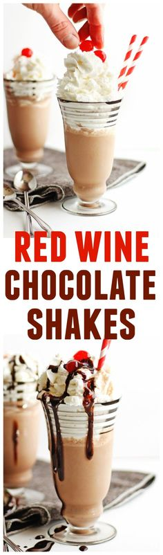 Easy red wine chocolate shakes recipe! Only 3 ingredients: red wine, chocolate ice cream, and chocolate syrup. The BEST 2 minute dessert you can make! Top with whipped cream, more chocolate syrup, and a cherry on top for that perfect Valentine's day treat. SO GOOD! // Rhubarbarians