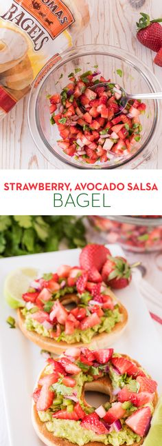 Strawberry Avocado Salsa Bagel: Simple and colorful, this is a perfect refreshing summer lunch. Just whip up a sweet salsa with fresh strawberries, honey, jalapeño, onion and cilantro, then spoon on top of smashed avocado on a toasted Thomas' Plain Bagel.