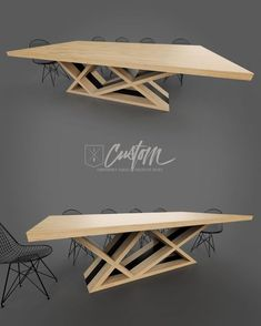8ft Ash + Steel Contemporary Dining Table. Clean + Modern. IRcustom.com Gold Furniture, Timber Furniture, Steel Furniture, Table Furniture, Furniture Design, Wooden Dining Tables, Dinning Table, Conference Table Design, Tropical Furniture