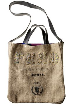 FEED Kenya Bag: Handmade by artisans in Kenya. The outside of the bag is made from traditional burlap material. The bag is lined with traditional African kitenge fabric. Each FEED 5 Africa Bag provides 5 children with micronutrient powder for 1 year {feedproject.com}