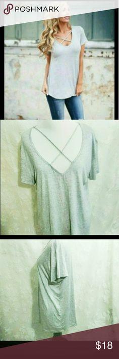 Criss Cross V Neck Top Grey Criss Cross Chest V Neck Top Short Sleeves  EUC Worn Twice 95% Rayon 5 % Spandex Tops