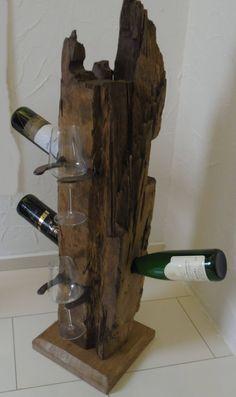 "Items similar to 7 ""Dagmara, the Extravagant"" Wine Bottle … – Wine World Wood Wine Holder, Wine Glass Holder, Wine Rack, Wine Bottle Holders, Wine Bottle Crafts, Candle Holders, Cute Furniture, Wine Shelves, Old Oak Tree"