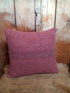 Red stripe pendleton pillow