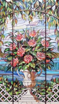 Stained glass on flower theme is a partition wall separating the adjacent rooms. Stained glass both sides, and looks great from the front and from the back side.  Artsybusheva Author Elena.