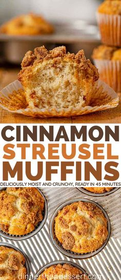 Cinnamon Streusel Muffin Recipe (Coffee Cake) - Dinner, then Dessert Cinnamon Streusel Muffins are deliciously moist vanilla cinnamon cakes topped with a crumble made of brown sugar and more cinnamon. Muffin Recipes, Brunch Recipes, Sweet Recipes, Baking Recipes, Breakfast Recipes, Recipes Dinner, Breakfast Ideas, Cake Recipes, Cinnamon Streusel Muffins