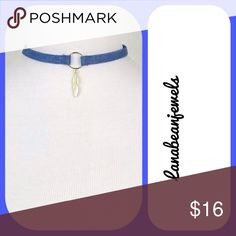 Hot denim choker! Denim choker with a gold circle center with a dainty gold leaf Jewelry Necklaces