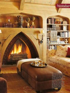 Gothic style fireplace and bookcases.
