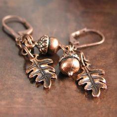 Copper Earrings Acorn Earrings Antique Copper Oak Leaf Earrings Autumn Harvest Fall Fashion