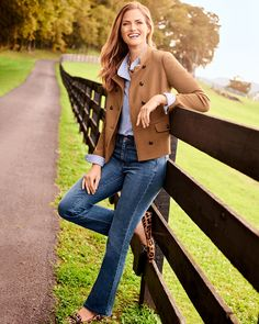 Pair the Knit Twill Band Collar Jacket with a pair of Barely Boot Jeans. | Talbots Fall Outfits Winter Outfits Women, Fall Outfits, Casual Outfits, Classic Style Women, Modern Classic, Autumn Winter Fashion, Winter Style, Fall Fashion, Fashion Ideas