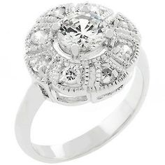 White Gold Rhodium Antique Milligrain Style Ring featuring CZ Cluster with Round CZ Center Stone. #mycustommade