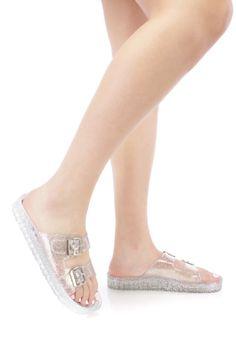 Silver Strappy Slip On Jelly Sandals Glitter PVC