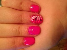 Pink Nails With Black White and Silver Accent Nail