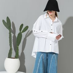 [soonyour] 2017 new spring lapel solid color long sleeve white gray big size loose shirt women fashion tide  all-match J01800