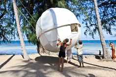 The Cocoon Tree is a sphere-shaped comfortable tent, designed to be suspended from a tree. The Cocoon Tree sphere is 3 meters in diameter built from aluminum… Pole House, Magnified Images, Sleeping Pods, Tree Tent, Cocoon, In The Tree, Fairy Houses, Prefab, Tent Camping