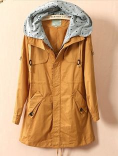 Yellow Stars Print Hooded Drawstring Trench Coat