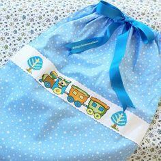 Kanaviçe bebek yedek kıyafet torbası/ baby bag crossstich