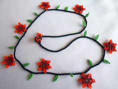 Huichol Beaded Flower Necklace by Aramara on Etsy