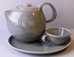 Steubenville Raymor Contempora teapot, party plate, and cup by Ben Seibel. Gorgeous.