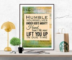 Humble yourselves print Bible Verse Inspirational Art Print Christian Printable Verse Christian Quote digital print poster colorful wall art by InArtPrints on Etsy