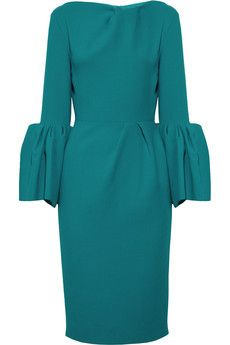 Roksanda Ilincic - Rich Teal Margot ruffle-sleeved wool-crepe dress