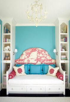 I think this is a great idea if you have a small space.  I love the floor-to-ceiling bookshelves and the extra space under the day bed.