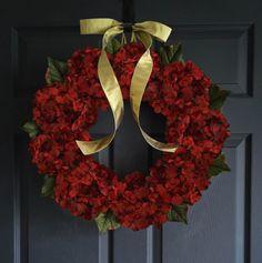WREATH SALE Autumn Hydrangea Wreath  Cranberry Red by HomeHearthGarden.Etsy.Com