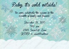 Winter Wonderland Invitation Birthday Baby Shower Custom Personalized  Invitation Digital File Download