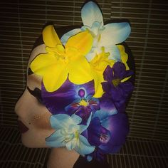 Large vibrant tropical colorful hairpiece. ..available for $13 plus shipping. ..leave your email to purchase.  PayPal only. #deadlydinaaccessories #tikioasis #tiki #luau #hawaiin #tropical #vibrant #colorful #purpletones #blueflowers #yellowtones #hairflowers #hairpiece #hairaccessories #pinup #retro #vintageinspired #rockabilly